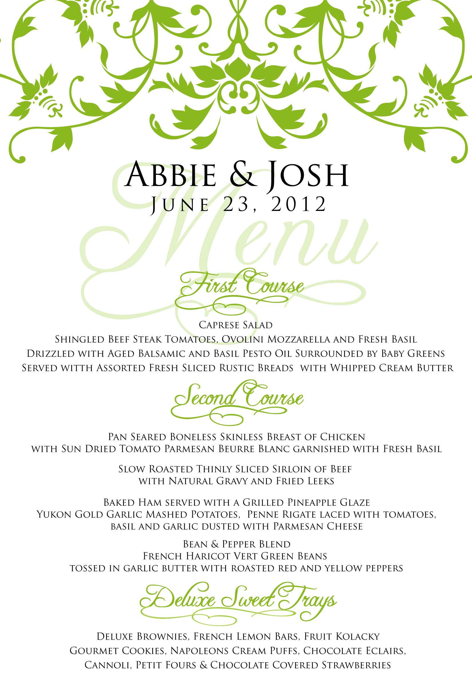 Wedding Menu For Abbie