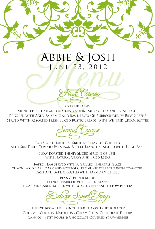 Wedding Menu for Abbie & Josh