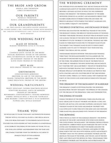 Modern Calligraphy Style Wedding Program for Angela & Chris