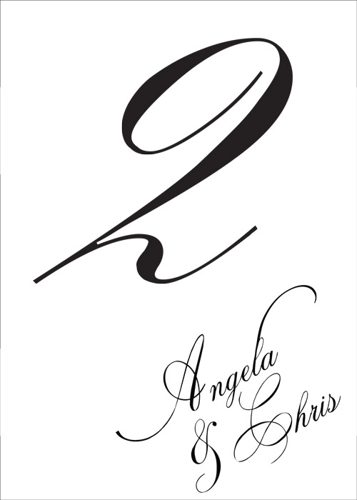Calligraphy Style Table Number for Angela & Chris