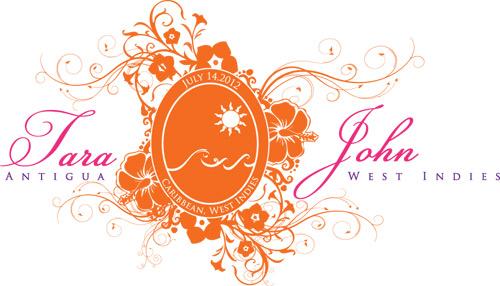 Wedding Monogram for Antigua, West Indies, Carribean