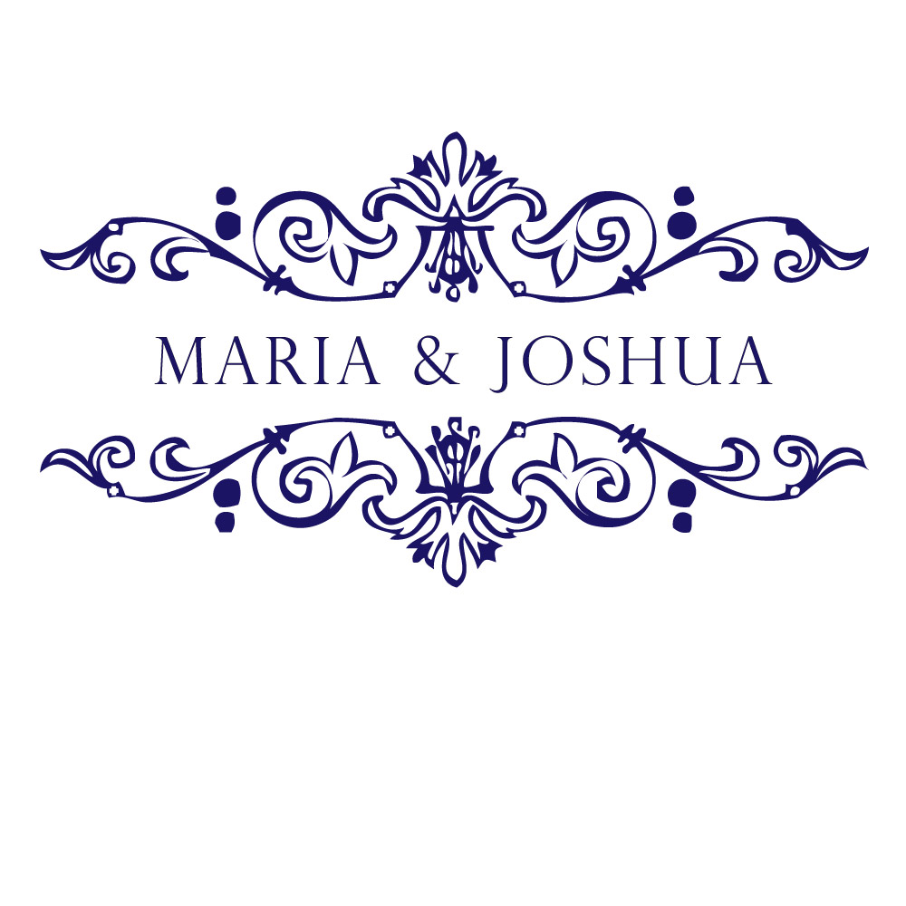 wedding monogram in navy white