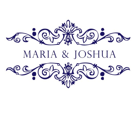 Wedding Monogram in Navy & White