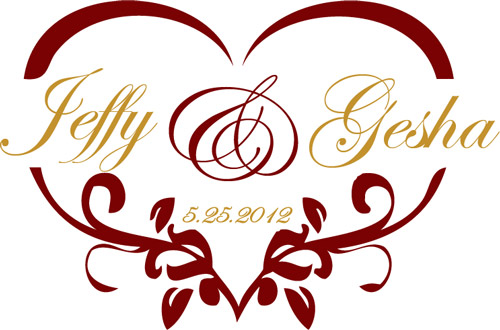 Heart Shaped Wedding Monogram for a Gobo