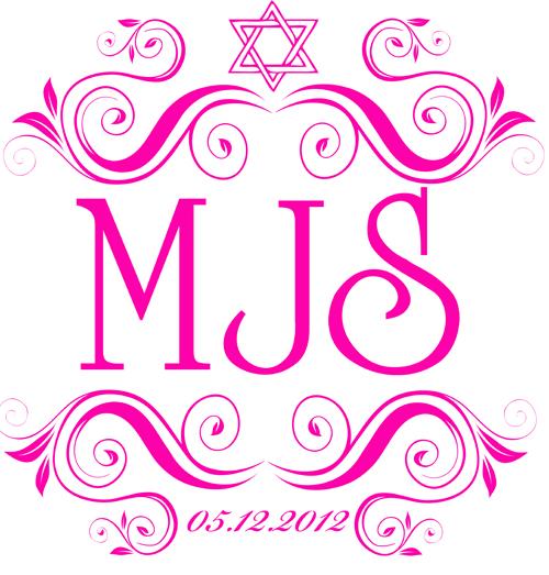Pink Bat Mitzvah Monogram for Madison