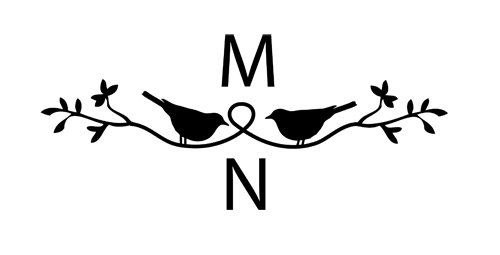 Birds on a Branch Black and White with Initials Wedding Monogram