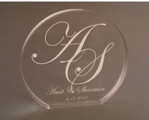 Custom Engraved Monogram Cake Topper