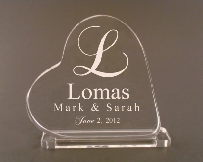 Heart Shaped Custom Engraved Cake Topper