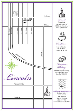 Wedding Map of Lincoln Nebraska