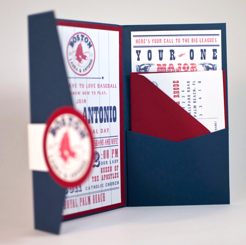 Baseball Team Themed Wedding Invitations