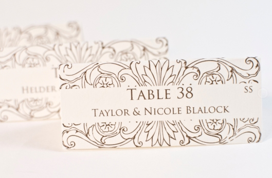Floral Calligraphy Style Place Cards