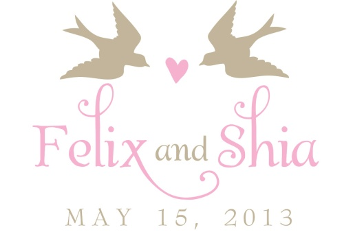 Cute Birds with Heart Wedding Monogram