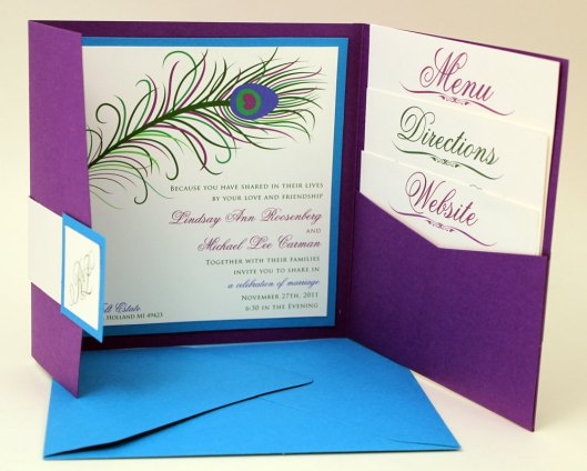 Peacock Feather Jewel Tone Invitation Suite