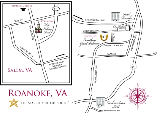 Custom Wedding Map of Roanoke & Salem Virginia