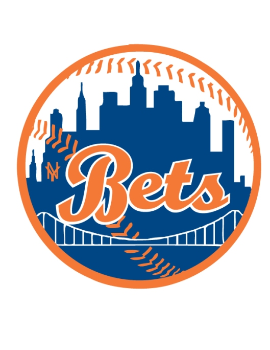 NY Mets Style Colors Baseball Wedding Monogram