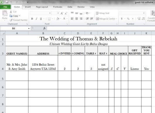Free Downloadable Wedding Guest RSVP List – Wedding Address List Template