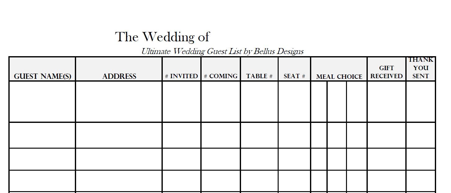 free downloadable wedding guest  u0026 rsvp list