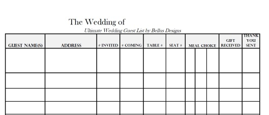 Free Downloadable Wedding Guest RSVP List – Wedding Guest List Template Free