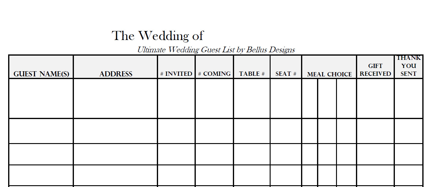 Free Printable PDF Guest List Template Guest List U2013 Blank Printable  Guest List Template Free