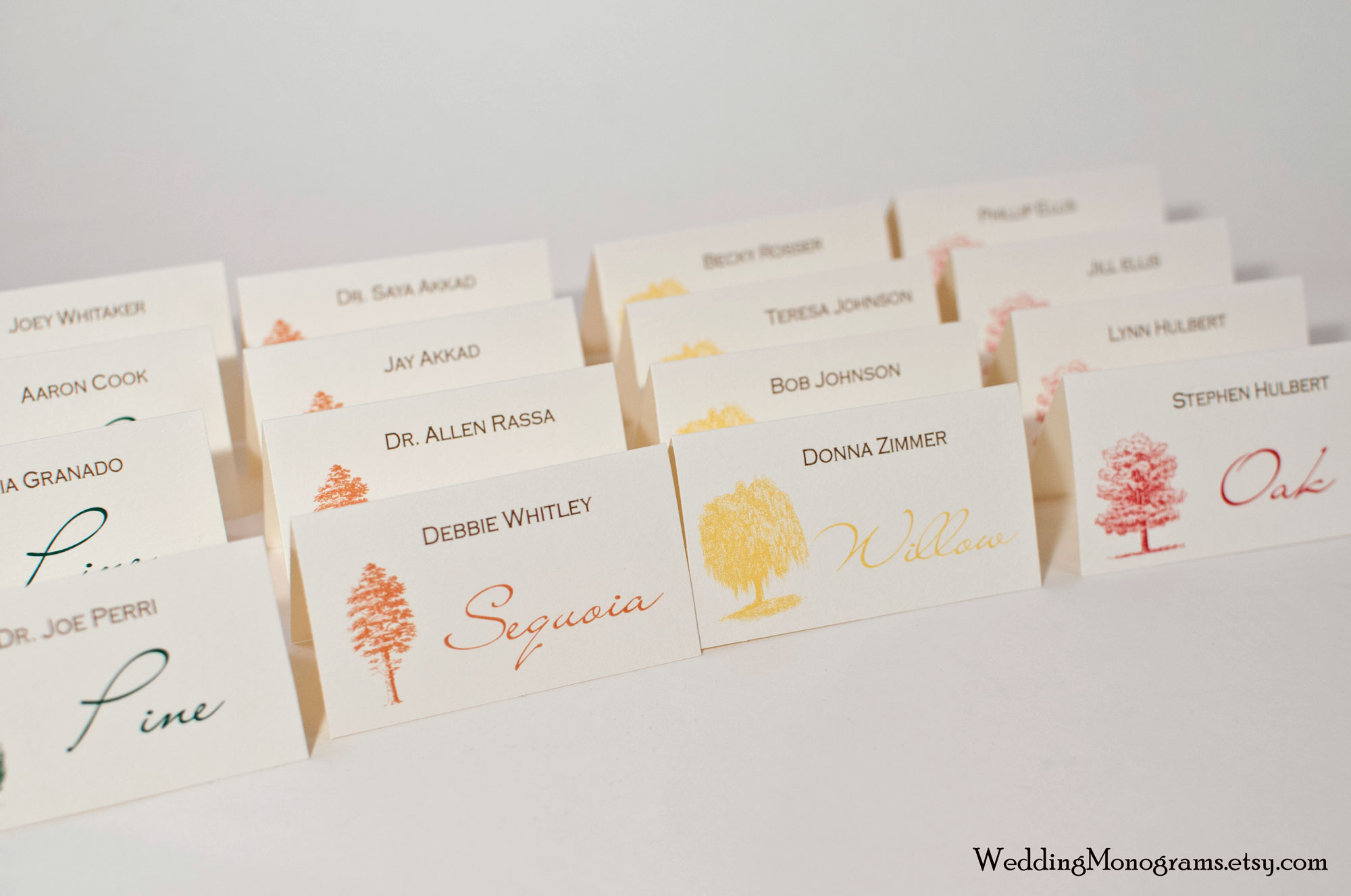 Autumn Trees – Fall Place Cards or Escort Cards