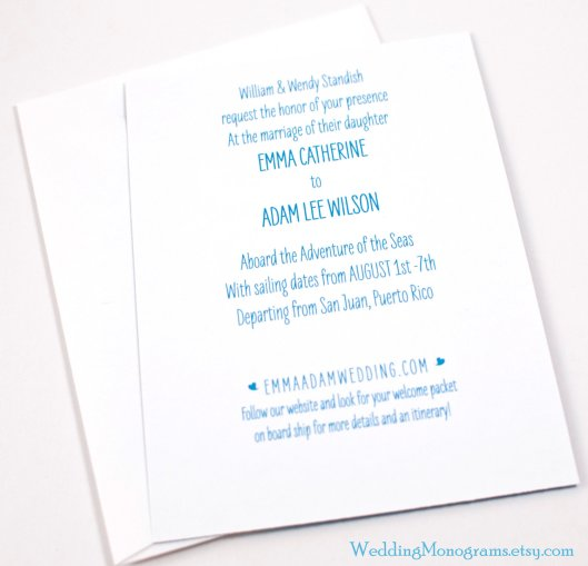 Cruise and Destination Wedding Invitations