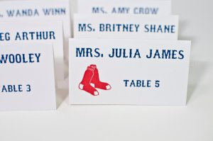 Red Socks Fans Baseball Theme Escort/Place Cards