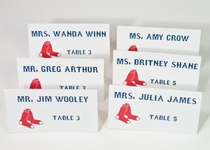 Red Socks Baseball Theme Escort Place Cards