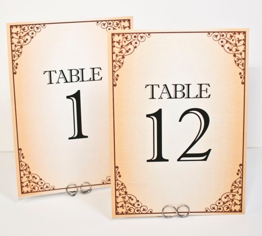 Vintage Frame Sepia Tone Table Number Cards