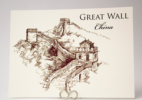 Famous Landmarks Illustration - Wedding Table Card